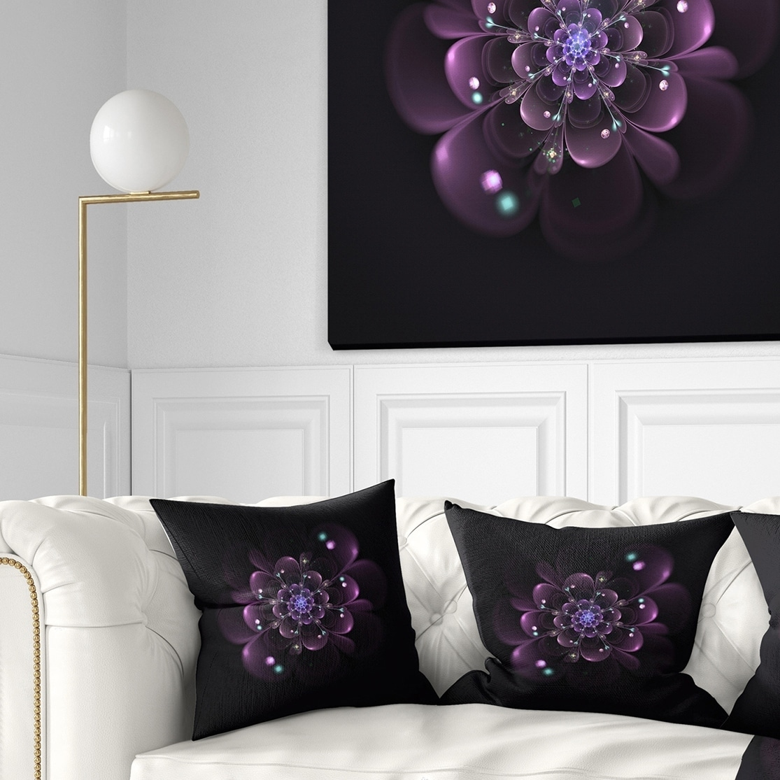 Design Art Designart Glowing Light Purple Fractal Flower On Black Floral Throw Pillow Walmart Com Walmart Com