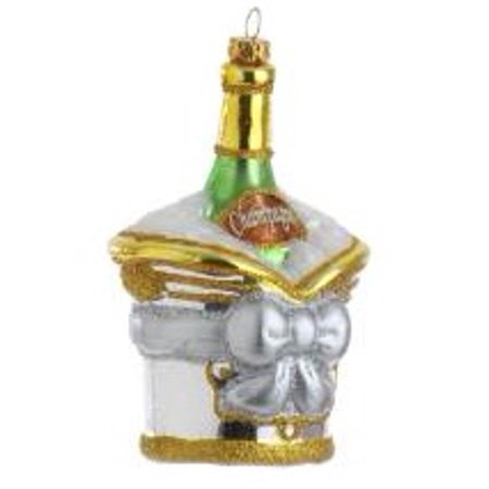 """Raz Imports 5.5"""" Happy Hour Champagne in Ice Bucket Christmas Ornament - Gold/Silver"""