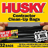 Husky HC42WC032B Heavy Duty Clean-Up Trash Bag, 42 gal, 45-1/8 in L x 32-3/4 in W x 3 mil T, Polyethylene Resin, Black