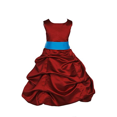 Ekidsbridal Apple Red Satin Pick-Up Bubble Flower Girl Dresses Formal Special Occasions Dresses Wedding Pageant Recital Reception Party Ball Gown Graduation Birthday Girl Ceremony Princess 806S](Graduation Gowns)