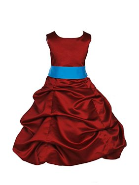 Product Image Ekidsbridal Apple Red Satin Pick-Up Bubble Flower Girl Dresses  Formal Special Occasions Dresses Wedding 9283ab060353