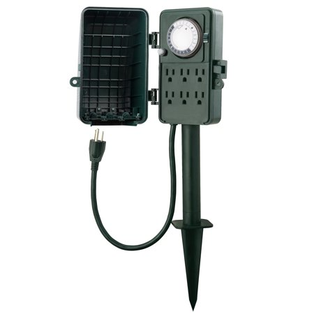Century 24 Hour Outdoor Mechanical Timer 6 Ways Garden Power Stake - Powered Stake