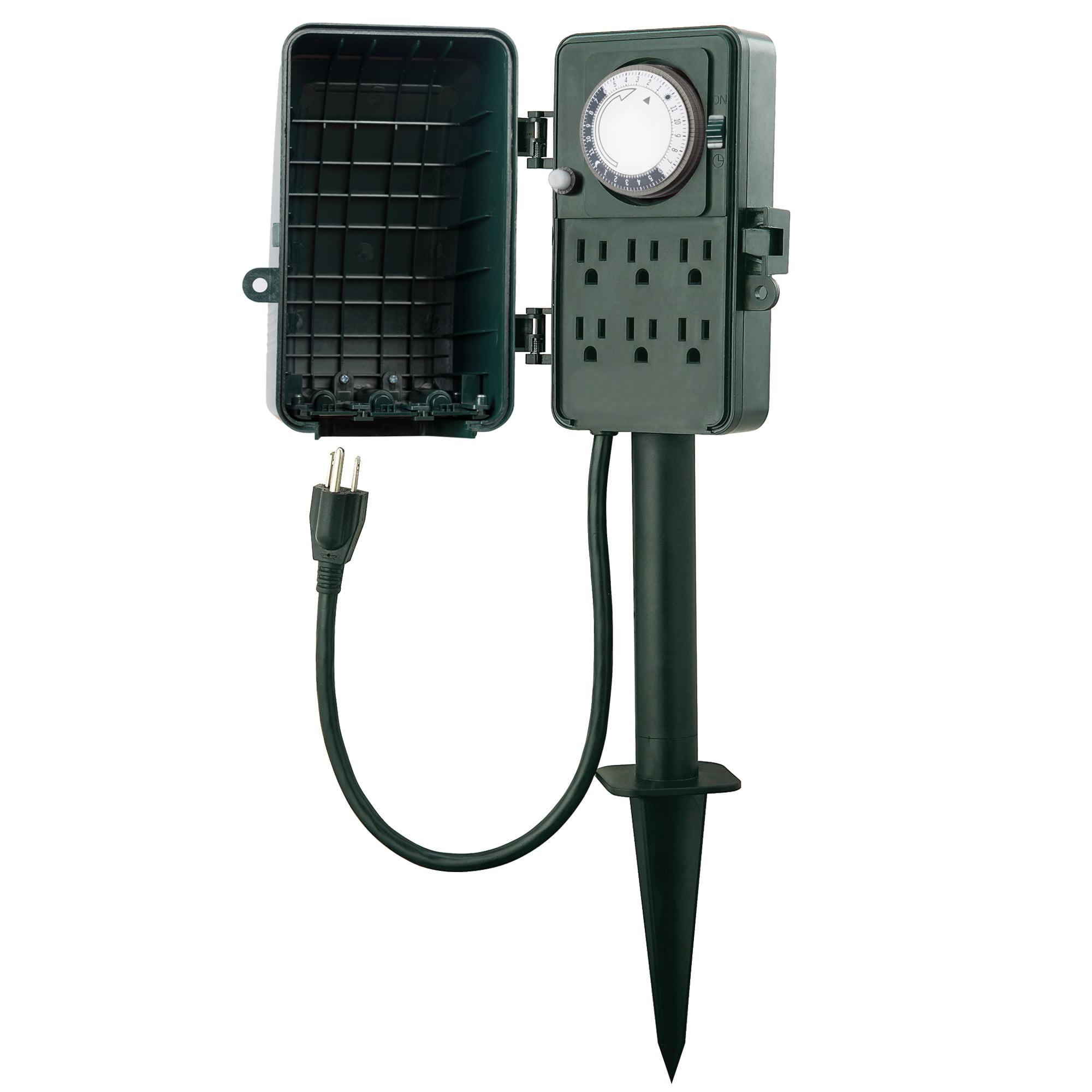 Century 24 Hour Outdoor Mechanical Timer 6 Ways Garden Power Stake Waterproof
