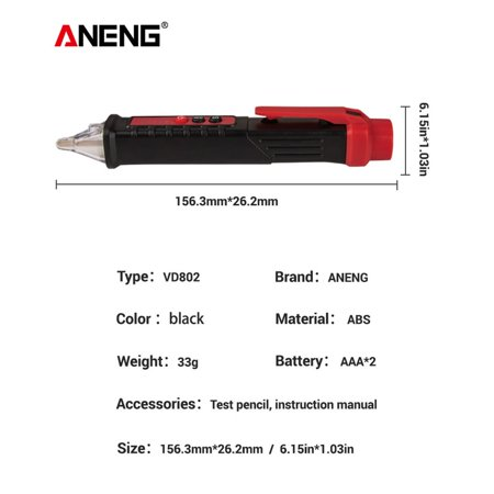 ANENG VD802 Non-Contact AC Voltage Electric Tester Pen Induction Test Pencil With LED Light Electric Detectors Tester - image 6 of 7