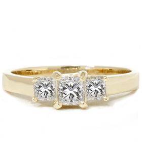 1ct Three Stone Diamond Ring 14K Yellow Gold by Pompeii3