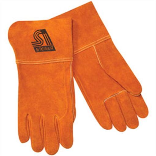 """MIG Welding 4"""" Gloves, Side split cowhide, Lg Steiner 0214L STI LP"""