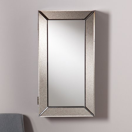 Wadeswood Wall-Mount Mirrored Jewelry Armoire, Antique