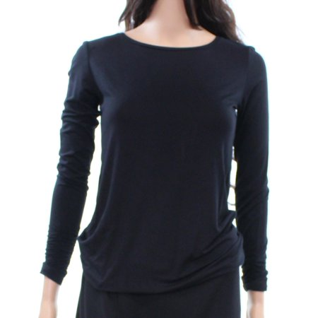 Alfani NEW Deep Black Women's Size XS Long-Sleeve Ruched Knit Top