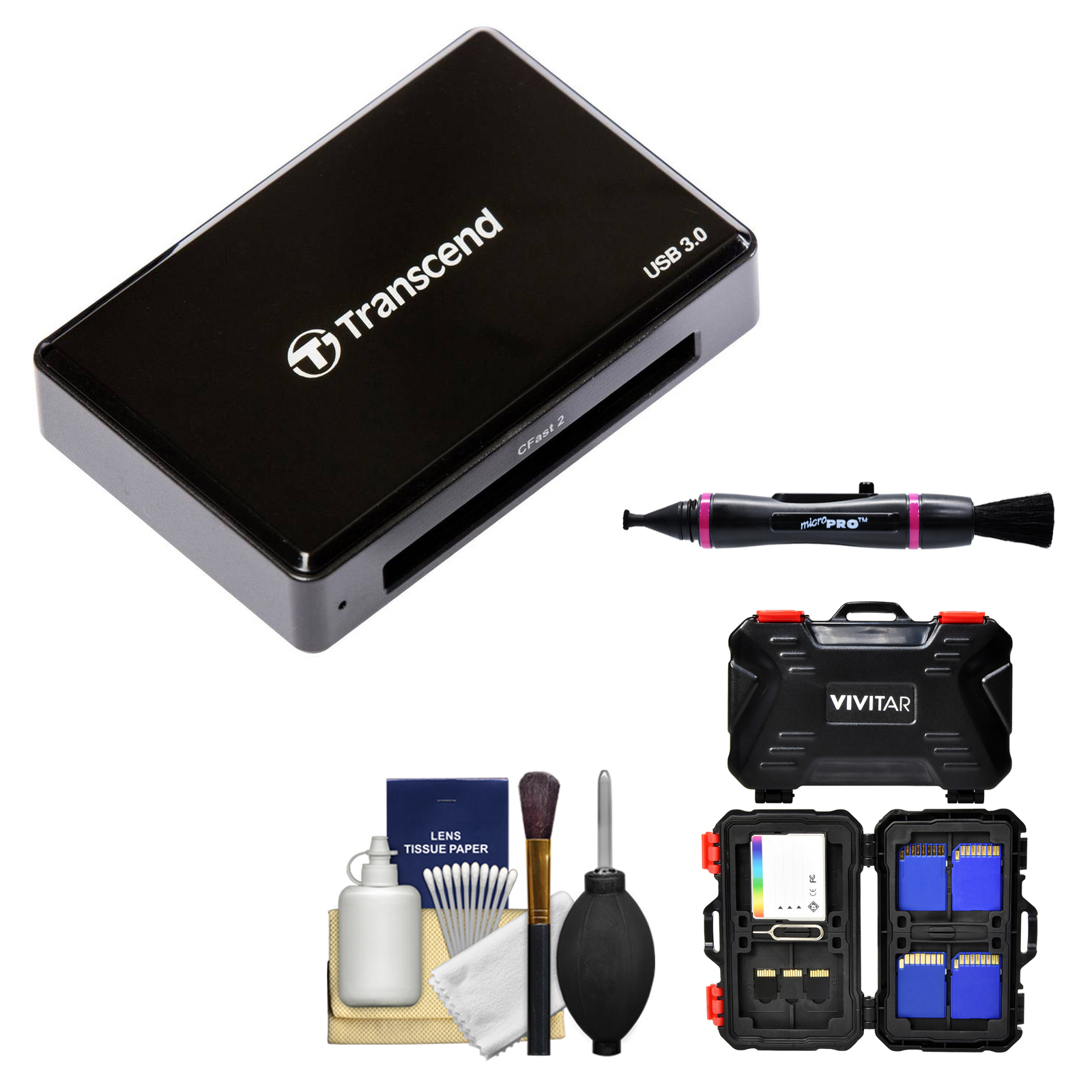 Transcend TS-RDF2 CFast 2.0 USB 3.1 Card Reader with Memory Card Case + Cleaning Kit