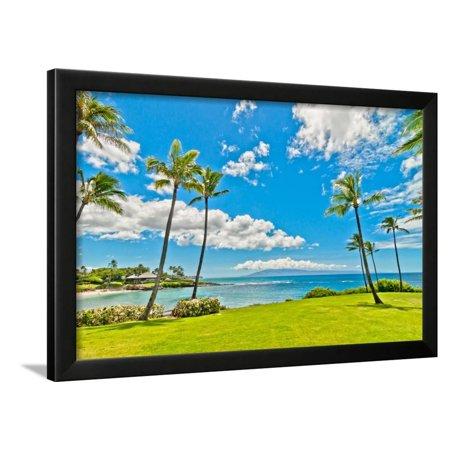 West Mauis Famous Kaanapali Beach Resort Area Framed Print Wall Art