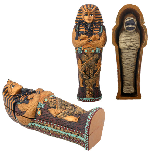Ancient Egyptian King Tut Sarcophagus Coffin with Mummy Figurine ONE Coffin by YTC Summit International