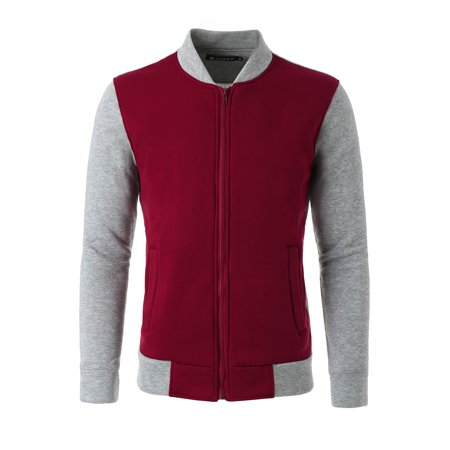 Unique Bargains Men's Color Block Stand Collar Zipper Front Varsity Jacket - All Time Low Varsity Jacket