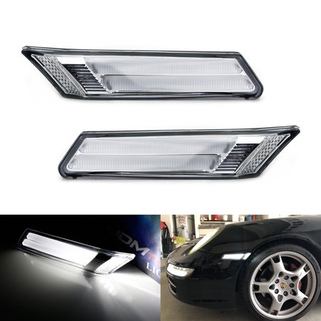 iJDMTOY Euro Clear Lens Xenon White LED Side Marker Lights w/Canbus Error  Free Decoders For 2005/2006-2012 Porsche Carrera 911 Cayman Boxster