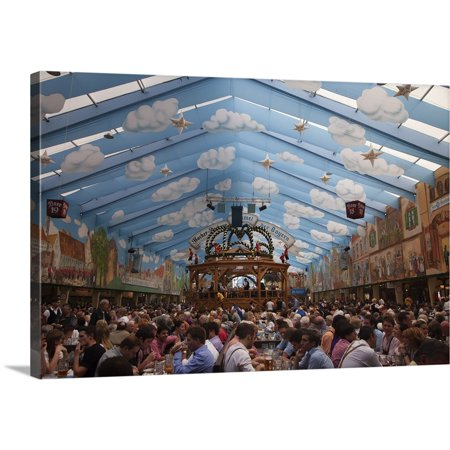 Great BIG Canvas   Dennis Flaherty Premium Thick-Wrap Canvas entitled Germany, Munich, Revelers inside one of the many beer halls - Munich Germany Beer