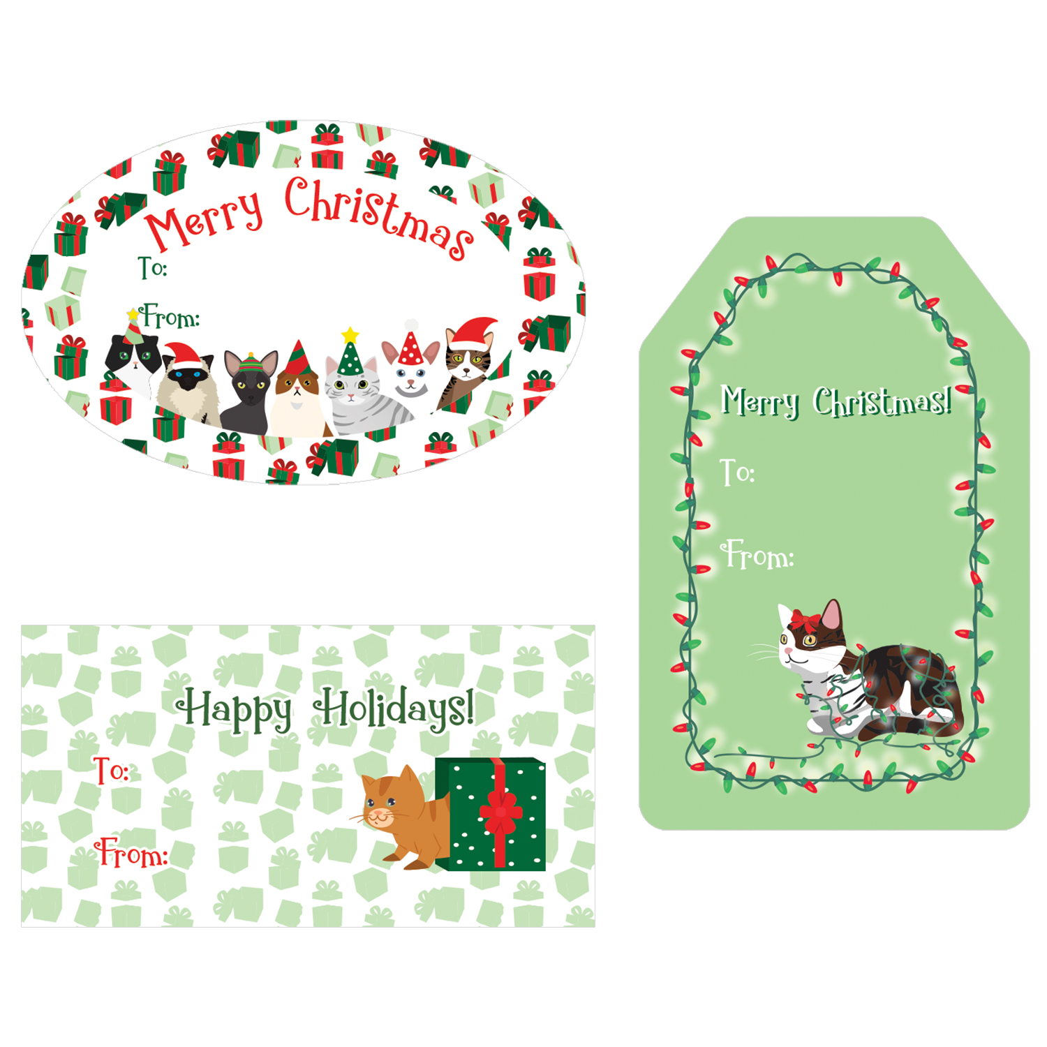 Christmas Gift Tag Stickers - 76 count - Cat Theme Christmas Gift Wrap Tags - Assortment of 76