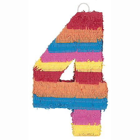 Number 4 Pinata, 22 x 14.25 in, Multicolor, 1ct (Pinatas For Boys)
