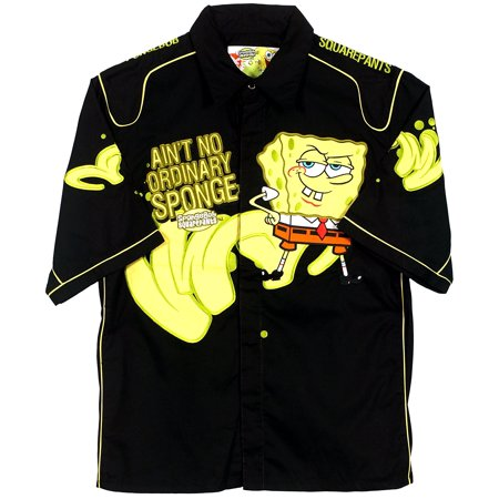 SpongeBob Squarepants Men's Snap-Up Racing Style Shirt - Spongebob Squarepants Pajamas