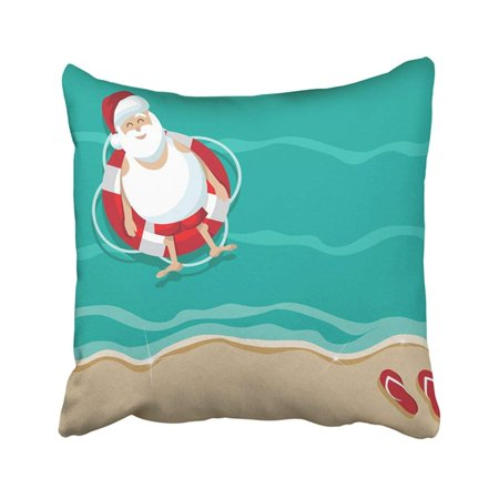 BPBOP Christmas Santa Floating In Lifesaver Beach 10 Tropical After Sale Xmas Flip Flops Funny Pillowcase Pillow Cover 18x18 inches ()