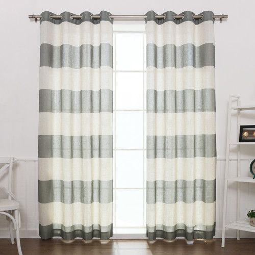 Best Home Fashion, Inc. Classic Striped Semi-Sheer Grommet Curtain Panels (Set of 2)