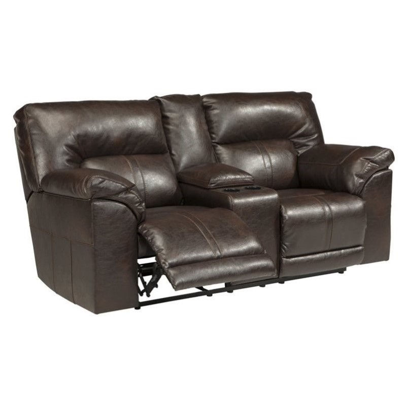 Ashley Barrettsville Leather Reclining Console Loveseat in Chocolate by Ashley Furniture
