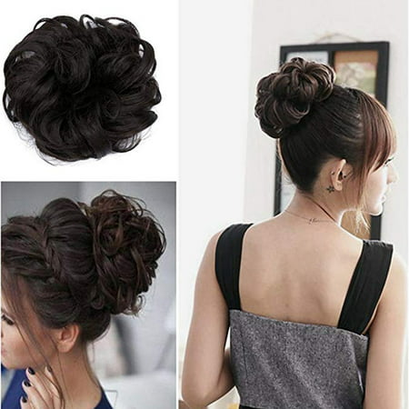 FLORATA Donut Chignons Bun Ponytail Scrunchie Updo Dish Bridal Synthetic Hair Black