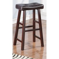 Leather Upholstered Wooden Bar Stools Brown Set Of 2 by Benzara