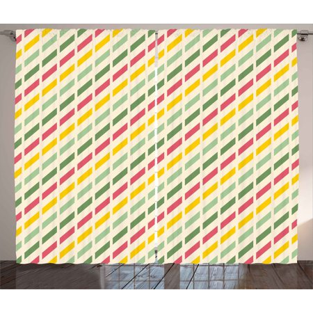 retro curtains 2 panels set colorful retro cut lines diagonal pattern in pastel colors simplistic - Retro Curtains