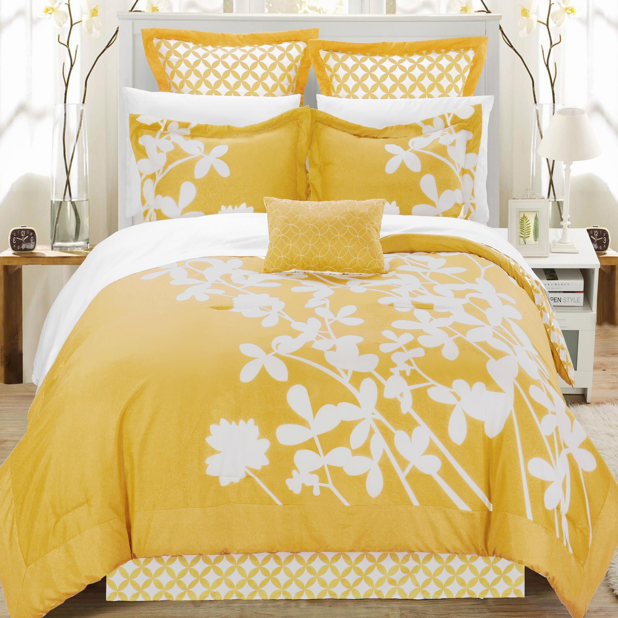 Iris Yellow & White King 7 Piece Comforter Bed In A Bag Set