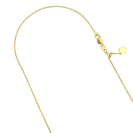 "Luxurman 10K Solid Yellow Gold 0.9mm Wide Adjustable Cable Chain 22"" Necklace Lobster Clasp Heart Charm"