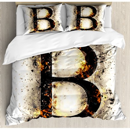 Letter B Queen Size Duvet Cover Set Language Flames Fire Uppercase With Wild Hot