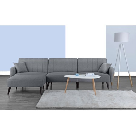 Modern Style Linen Fabric Sleeper Futon Sofa Living Room L Shape Sectional Couch With Reclining Backrest And Chaise Lounge Light Grey Com