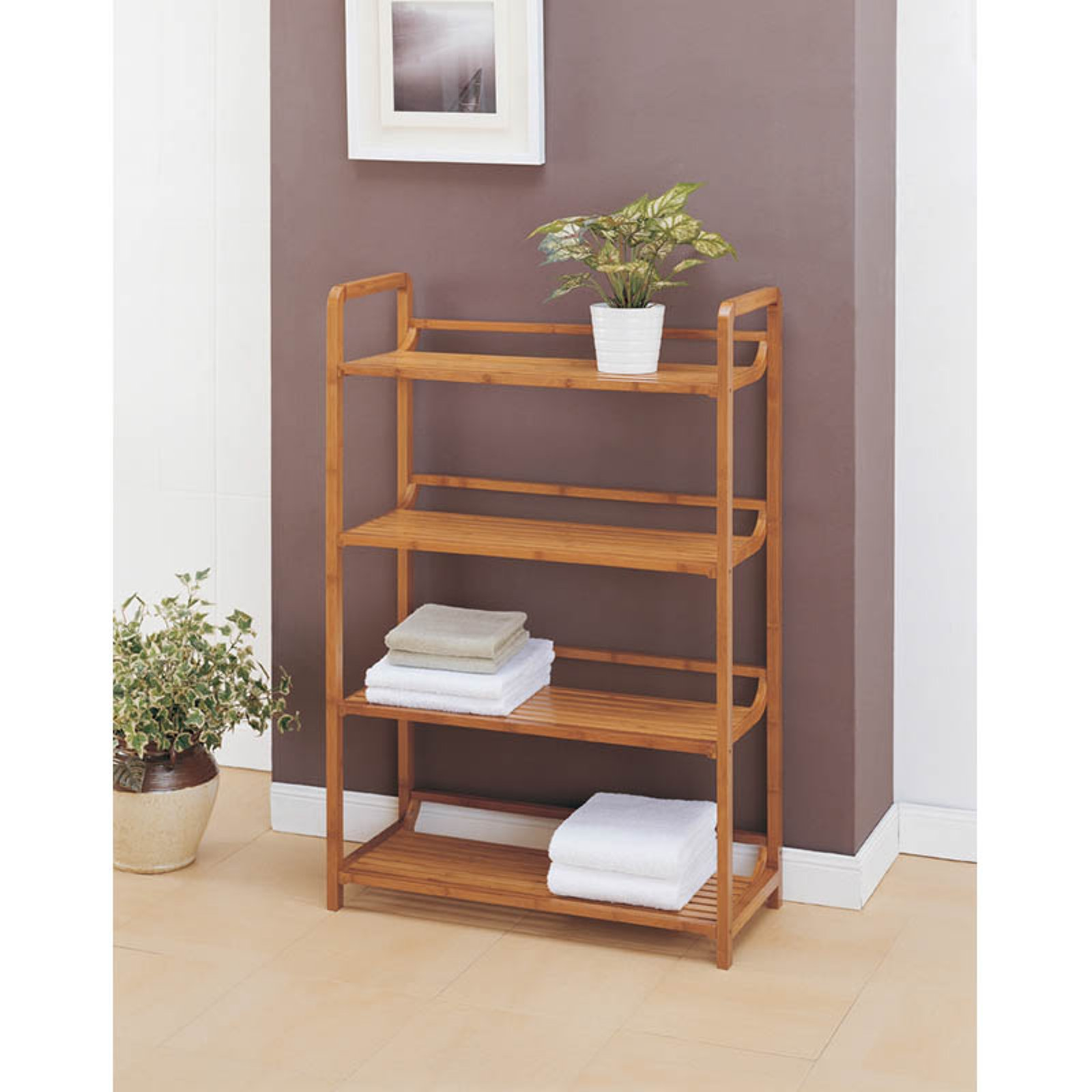 Neu Home Lohas Collection 4-Tier Shelf, Carbonized Bamboo