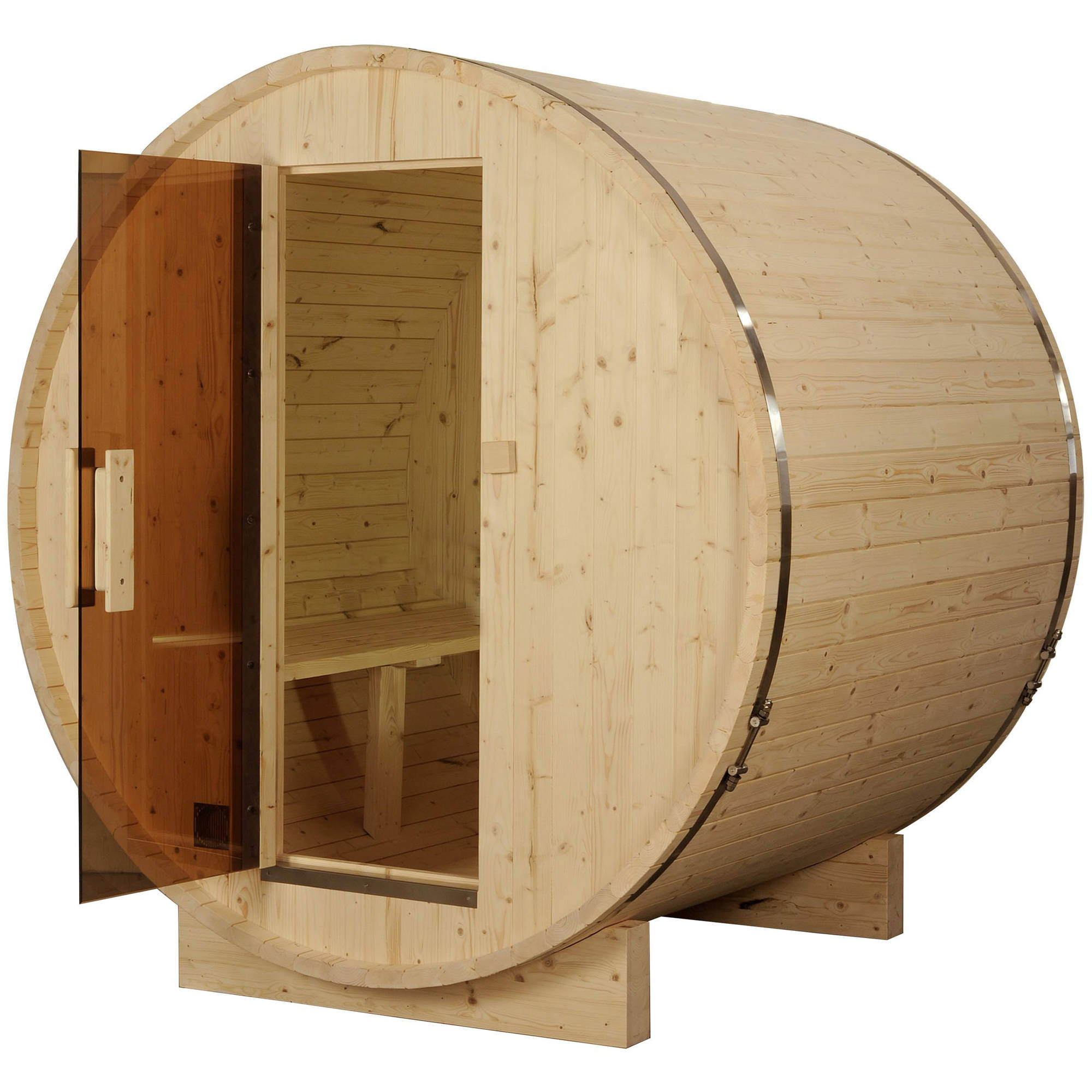 ALEKO SB4PINE 4 Person Indoor and Outdoor White Pine Wood Dry Wet Barrel Sauna with... by ALEKO