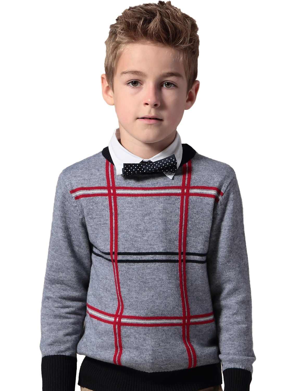 Leo&Lily Big Boys' Kids Wool Blends Checked Pullover Sweater Gray