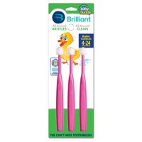 Brilliant Baby Toothbrush PINK 3 Count For First Teeth and Gum Care, Cleans & Massages EVERYWHERE It Goes, 20,000 Soft Microfiber Bristles, The Cant-Miss Toothbrush, Say Goodbye to Brushing Battles