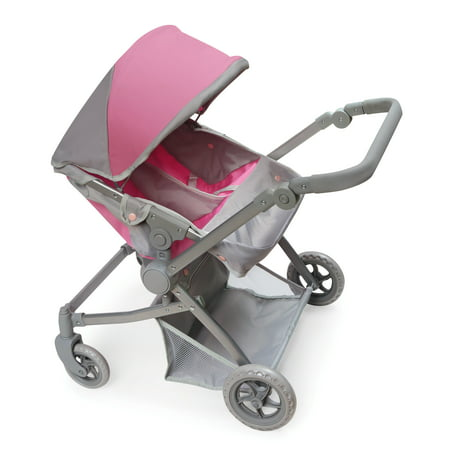 Badger Basket Voyage Twin Carriage Doll Stroller - Gray/Pink - Fits American Girl, My Life As & Most 18