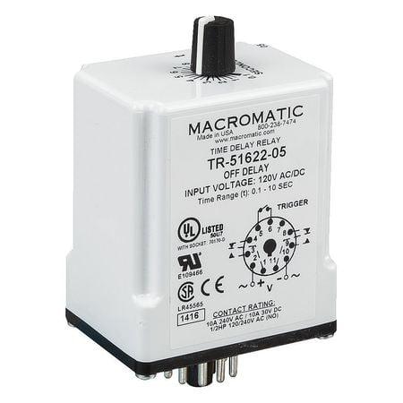 Time Delay Relay,24VAC/DC,10A,DPDT,2 VA MACROMATIC TR-51628-08