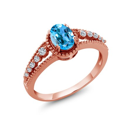 1.21 Ct Oval Swiss Blue Topaz White Topaz 18K Rose Gold Plated Silver Ring