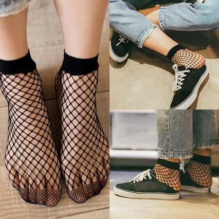 Hot Sale Upgraded Practical Women Fishnet Socks Spring Summer Black Breathable Sexy Thin Hollow Fishnet Short Socks Ankle Socks Black