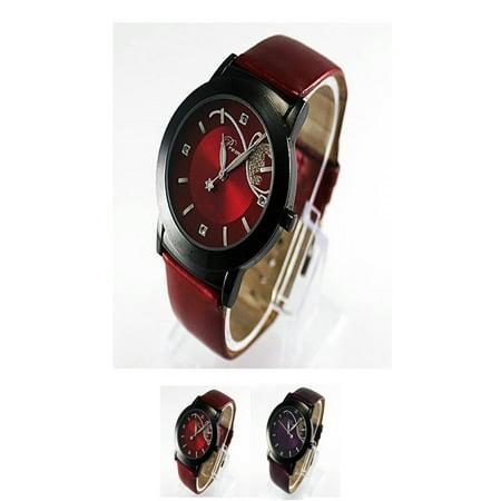Women Girls Quartz Wrist Dress Watch Clock Leather Watch Crystal Round