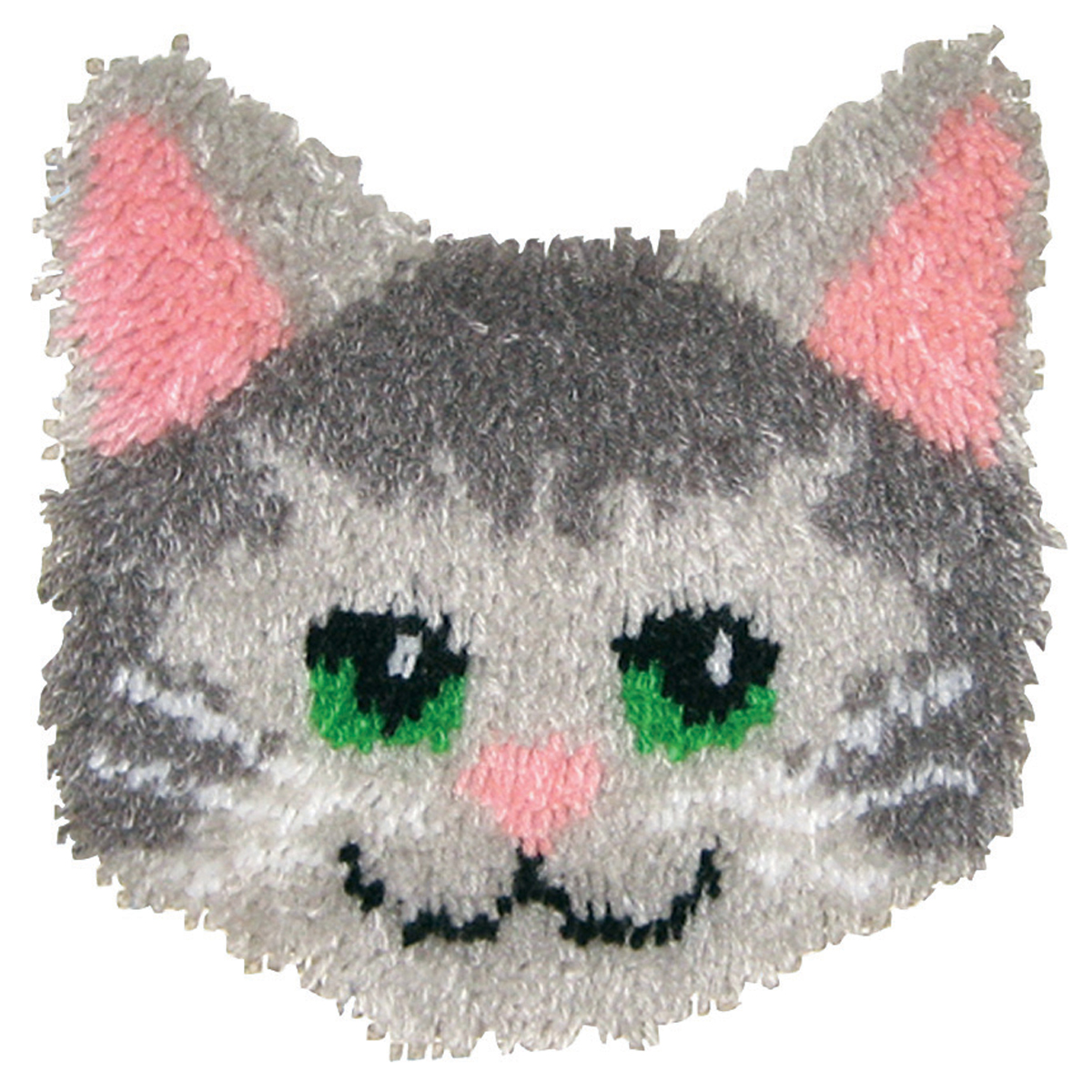 "Huggables Shaped Pillow Latch Hook Kit 12""X12""-Kitty"