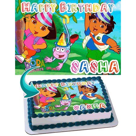 Dora the Explorer Personalized Cake Toppers Icing Sugar Paper A4 Sheet Edible Frosting Photo Birthday Cake Topper 1/4 - Dora Cakes