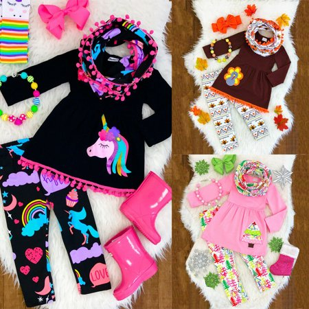 XIAXAIXU XMAS Kids Baby Girls Outfits Clothes T-shirt Tops Dress+Long Pants+Headband Set ()