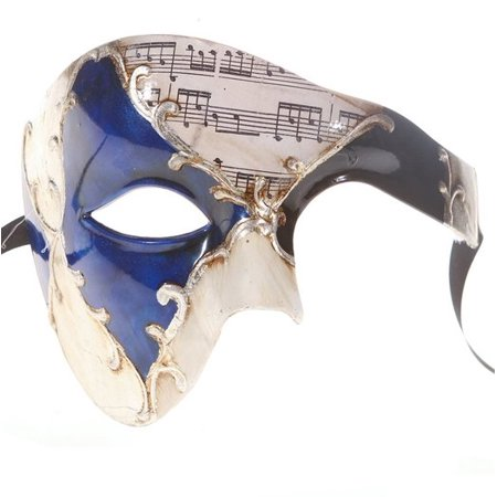 Men Phantom Of The Opera Half Face Masquerade Mask Blue and Silver Musical
