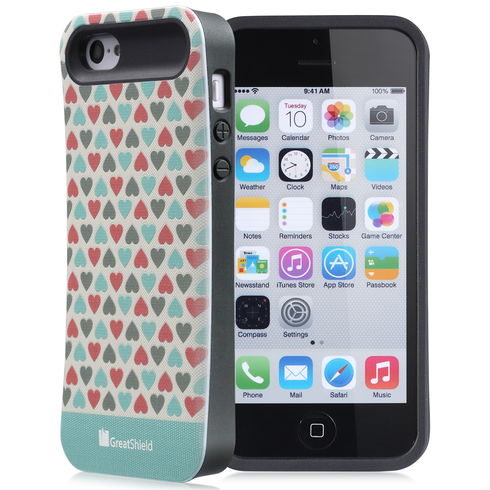 GreatShield [HYBRID] Apple iPhone 5C Case - ARCH Series Slim Fit Ergonomic Design Hard Shell Cover with TPU Bumper Hybrid Case for Apple iPhone 5C (SweetHeart Pattern) (Teal)