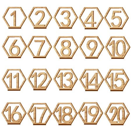 20PCS Cute Wooden Hollow-out Number 1-20 Hexagon Table Cards Reception Seat Card for Party Event Organizing Decorating