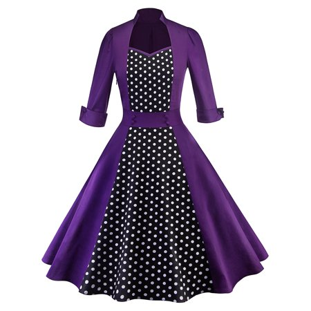 50s 60s Women Vintage Retro Polka Dot Rockabilly Swing Pinup Evening Party Dresses Long Sleeve (Pink Dotted Dress)