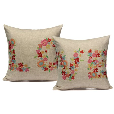 Meigar Flower Love Decorative Throw Pillow Case Cushion Cover Clearance 17x17 inch Square Zipper Waist Pillowcase Pillow Protector Slip Cases Sham for Home Bedroom Couch Sofa Bed