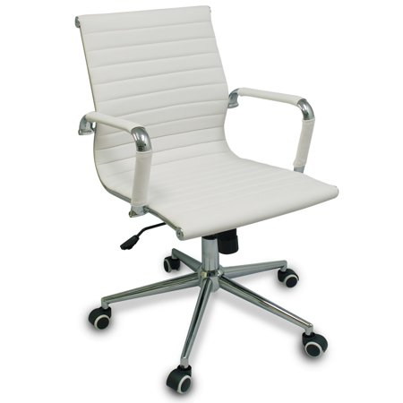 Bodymade Modern Ribbed Office Chair With Chrome Frame And Rubber Wheels  White