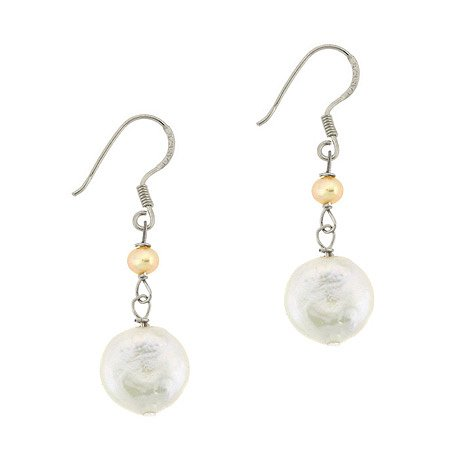 Sterling Silver Freshwater Cultured Pink & White Coin Pearl Dangle Earrings